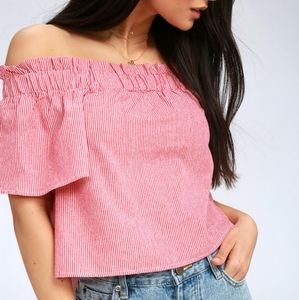 Lulu's Striped Off the Shoulder Cropped Top